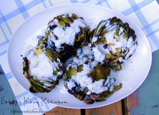 Bobbi's Kozy Kitchen: Grilled Artichokes with Lemon Garlic Sauce