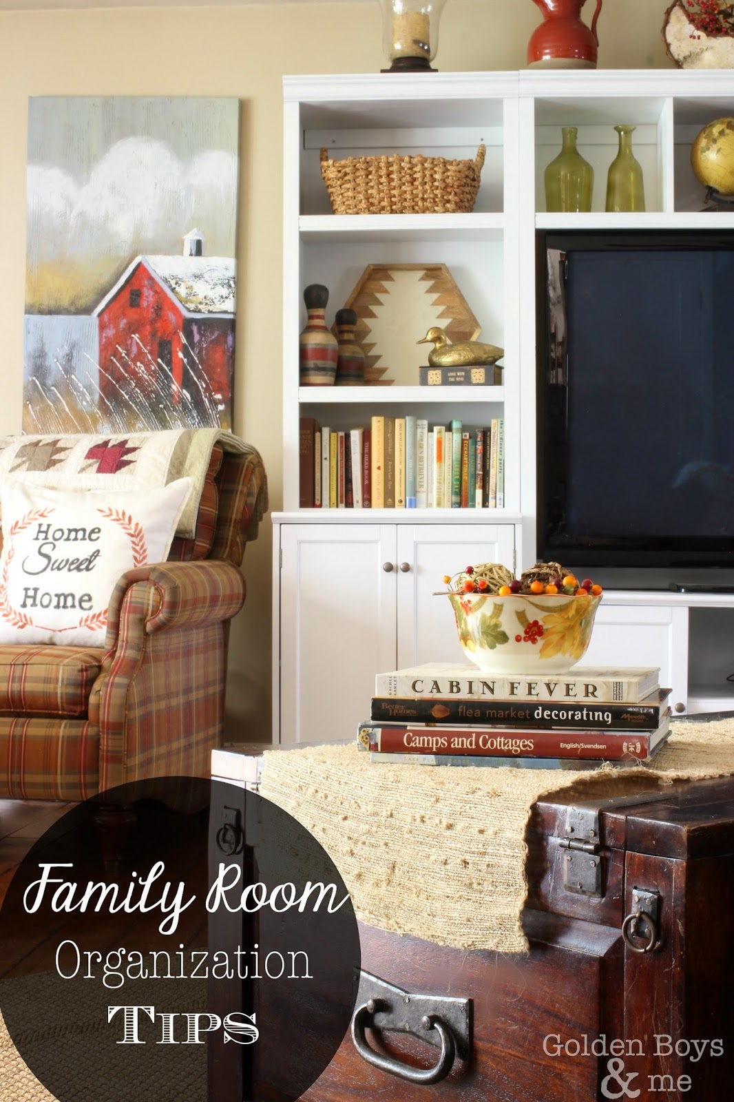 Family Room storage and organization tips-www.goldenboysandme.com