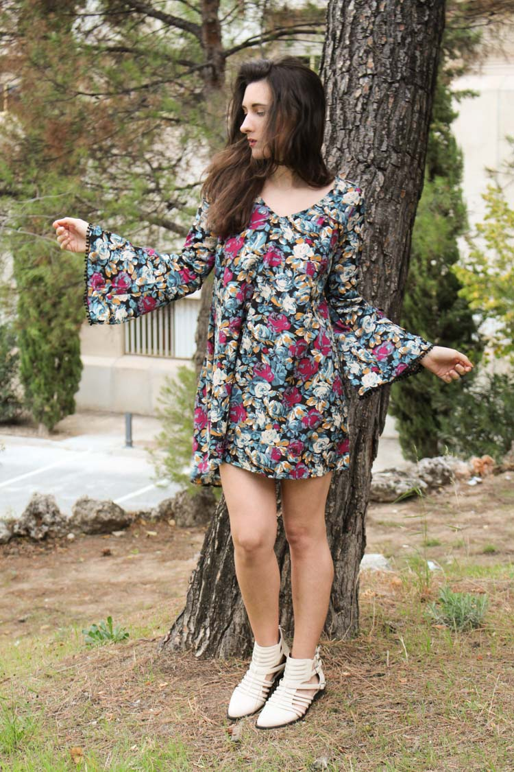 long sleeve flower dress, ancle booties
