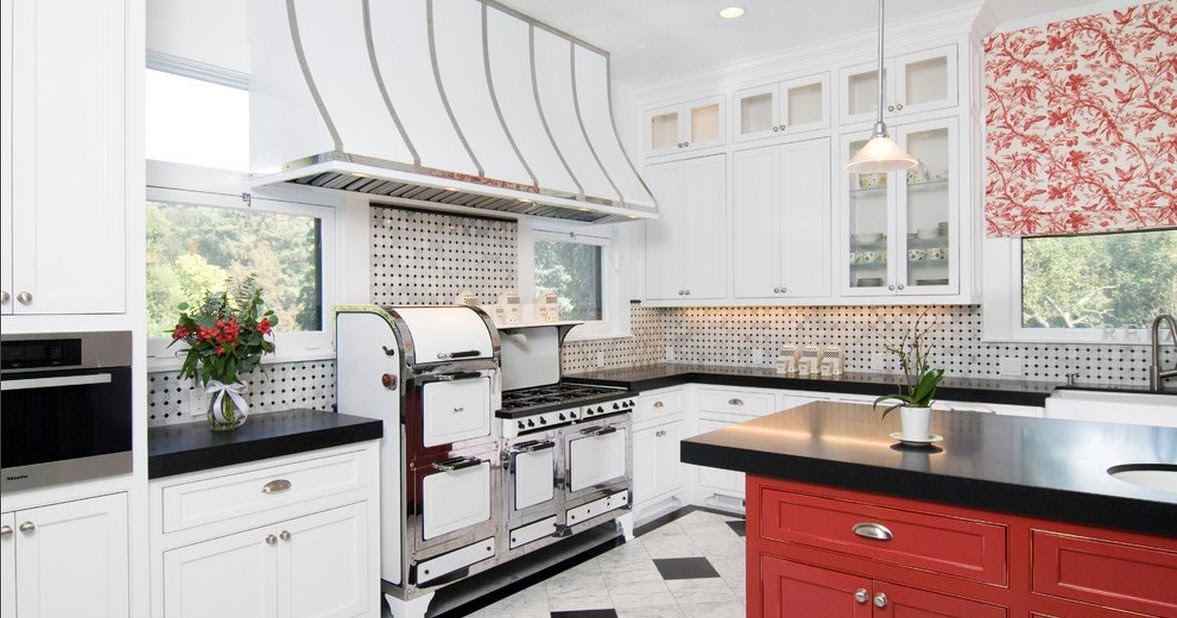 Delorme designs white kitchen black and red accents - White kitchen red accents ...