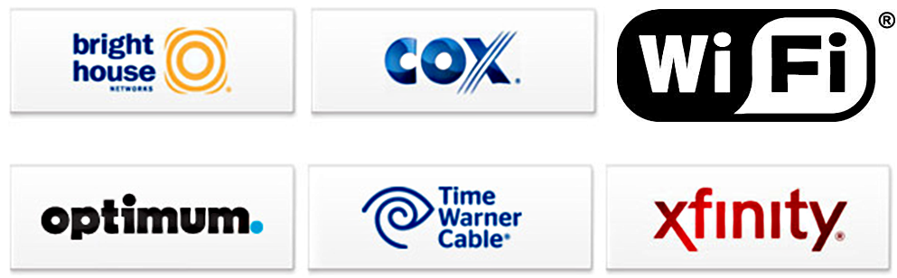 Logos of the cable companies offering WiFi access