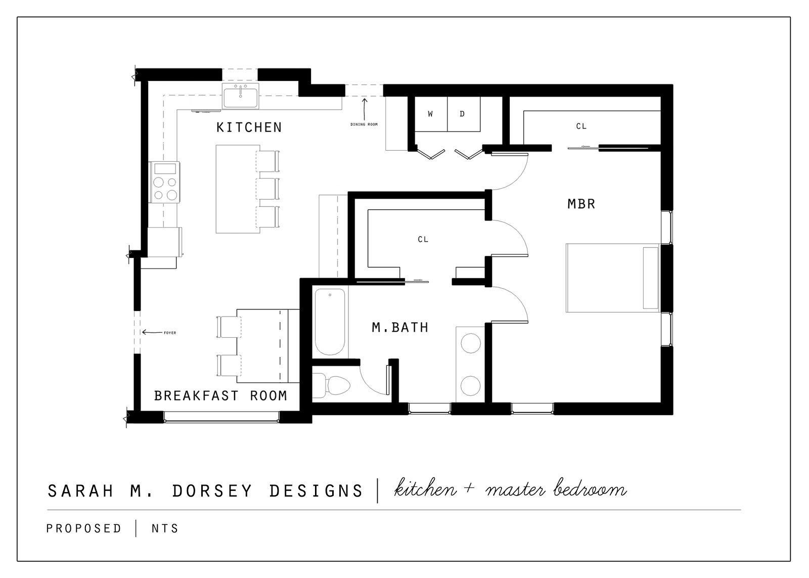 Sarah m dorsey designs proposed kitchen and master suite for Laundry room addition floor plans
