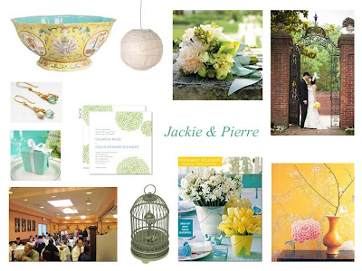 Yellow Chinese porcelain as inspiration and accents White paper lanterns