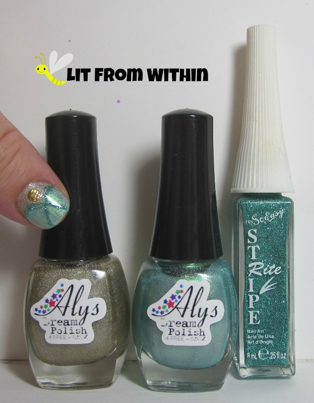 Bottle shot:  Aly's Dream Polish in Unbleached and I Dream In Aquamarine, and a Stripe Rite turquoise glitter striper.