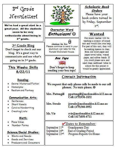 5th grade newsletter template - anderson 3rd grade newsletter 8 22