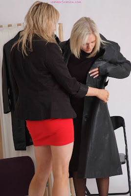 Tight Red Mini Skirted shop assistant, Helping Blonde with Coat