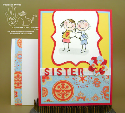 Picture of the finished sister card and its coordinating envelope
