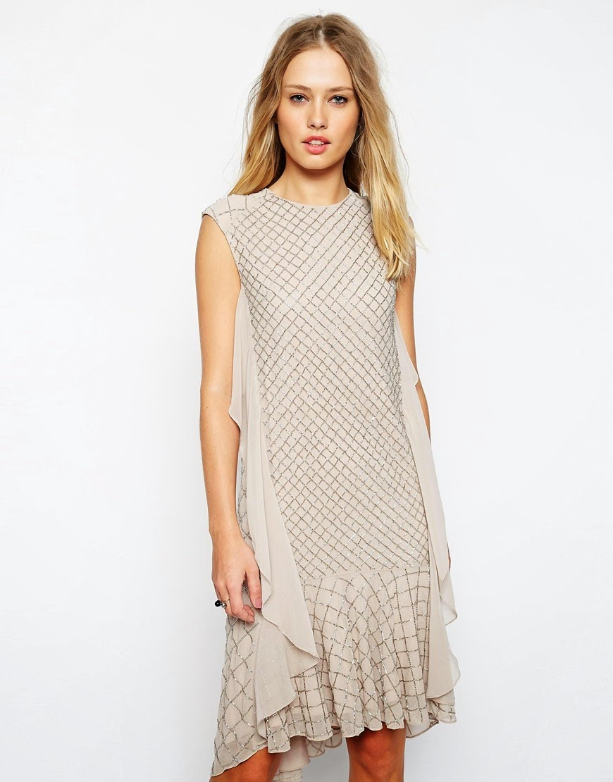 needle thread mesh dress, beige needle & thread dress,