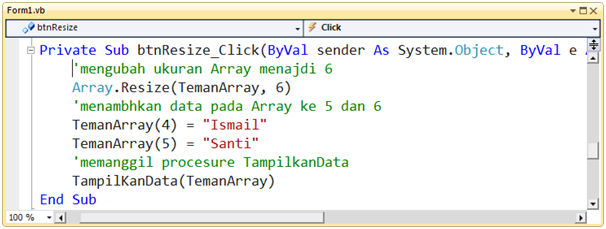 Contoh Program Array di VB.NET