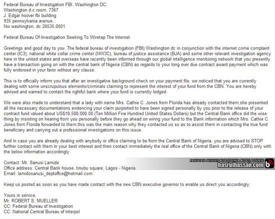 Terima Email Daripada Federal Bureau of Investigation (FBI)