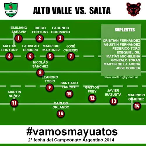 Formación de Salta para enfrentar a Alto Valle #vamosmayuatos