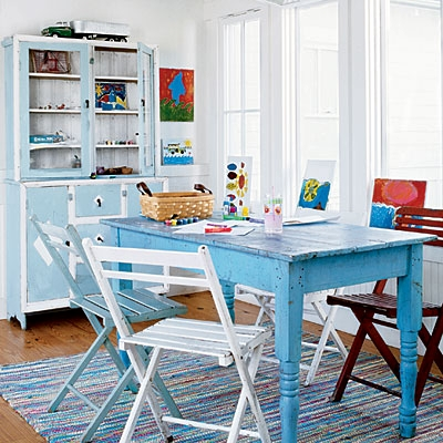 Distressed Dining Table Blue