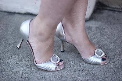 Manolo Blahnik Silver Sederaby Heels