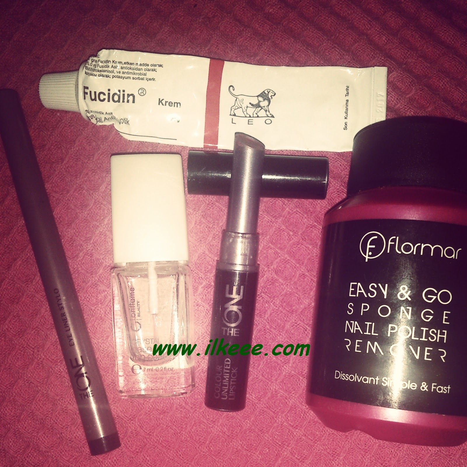 Flormar - Flormar Aseton - Flormar Easy and Go sponge nail remover - Fucidin Krem - Oriflame Crystal Base and Top Coat - The One serisi kullananlar - The one Eyeliner