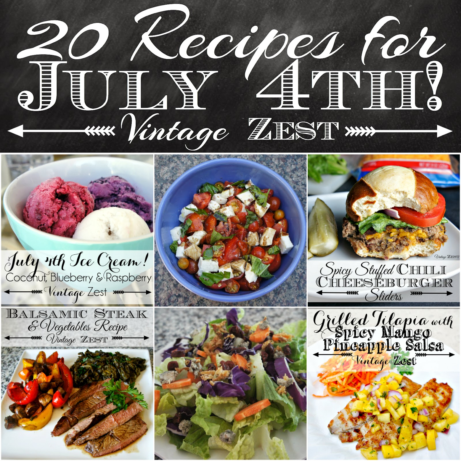 20 Recipes for July 4th! on Diane's Vintage Zest! #appetizer #entree #dessert