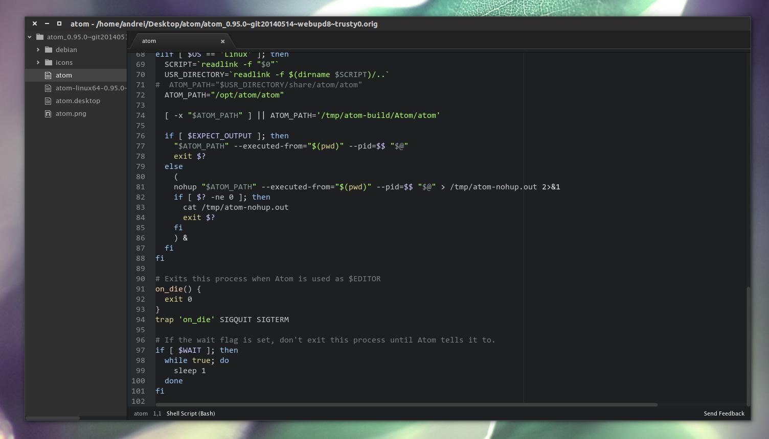 Atom text editor Ubuntu