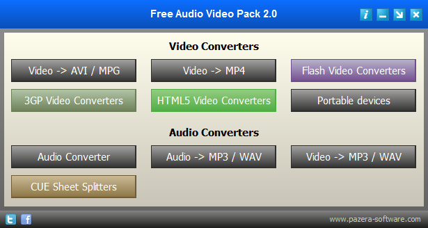 حزمة برمجية شاملة لتحويل جميع أنواع الصيغ الصوتية والمرئية Free Audio Video Pack 2.0