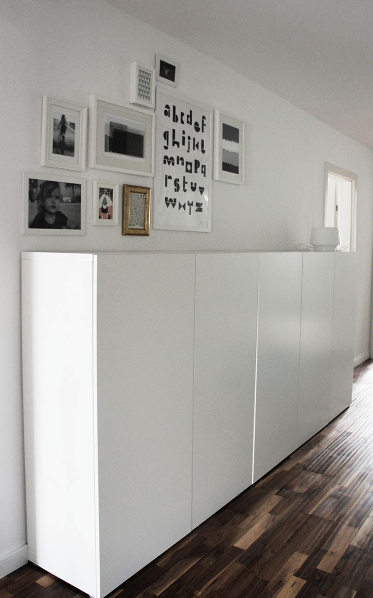 Ikea hack   kitchen cabinets set on the floor, added a top and wow ...