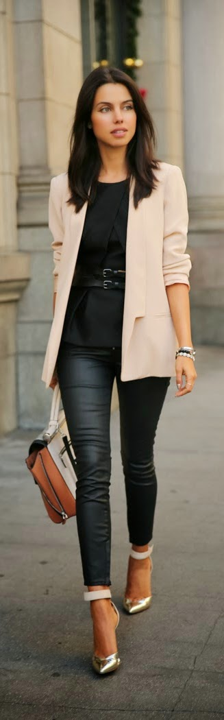 Blush Colored Boyfriend Blazer and Leather Pant | Causal Street chic