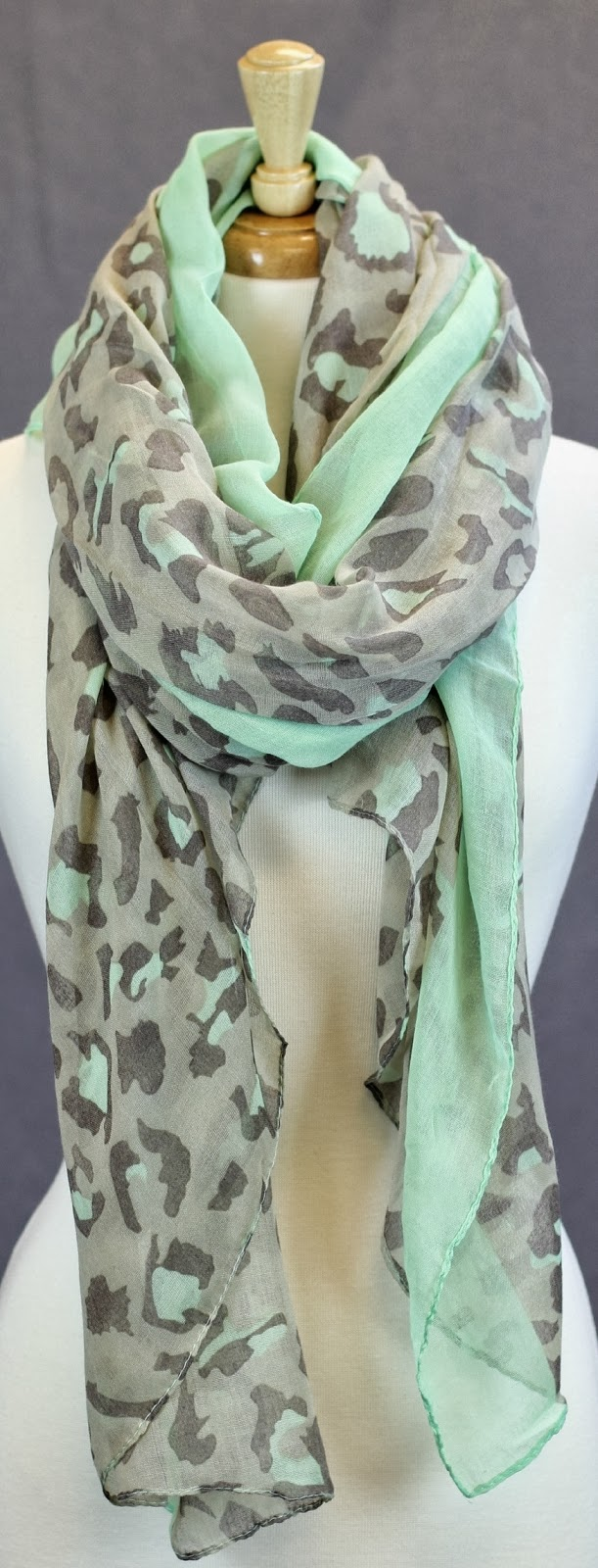 Beautiful leopard print mint color scarf fashion style