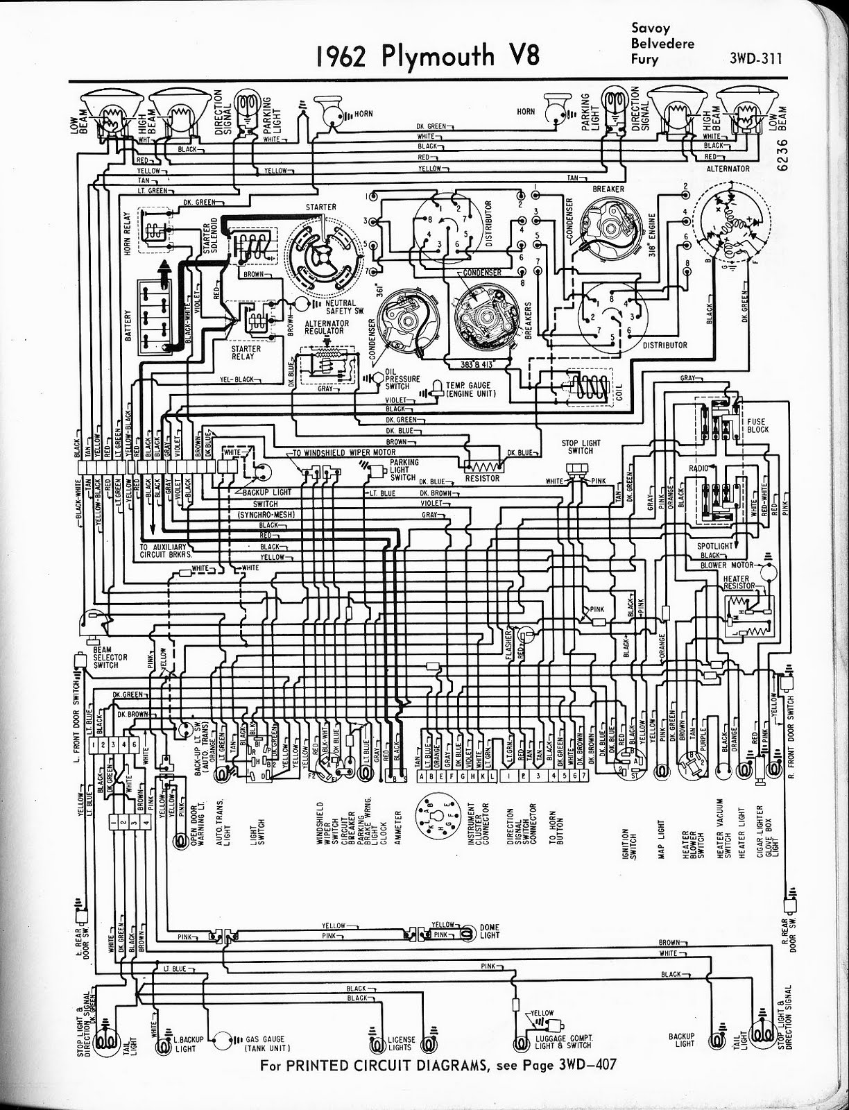 Free Auto Wiring Diagram  1962 Plymouth V8 Savoy  Belvedere  Fury Wiring