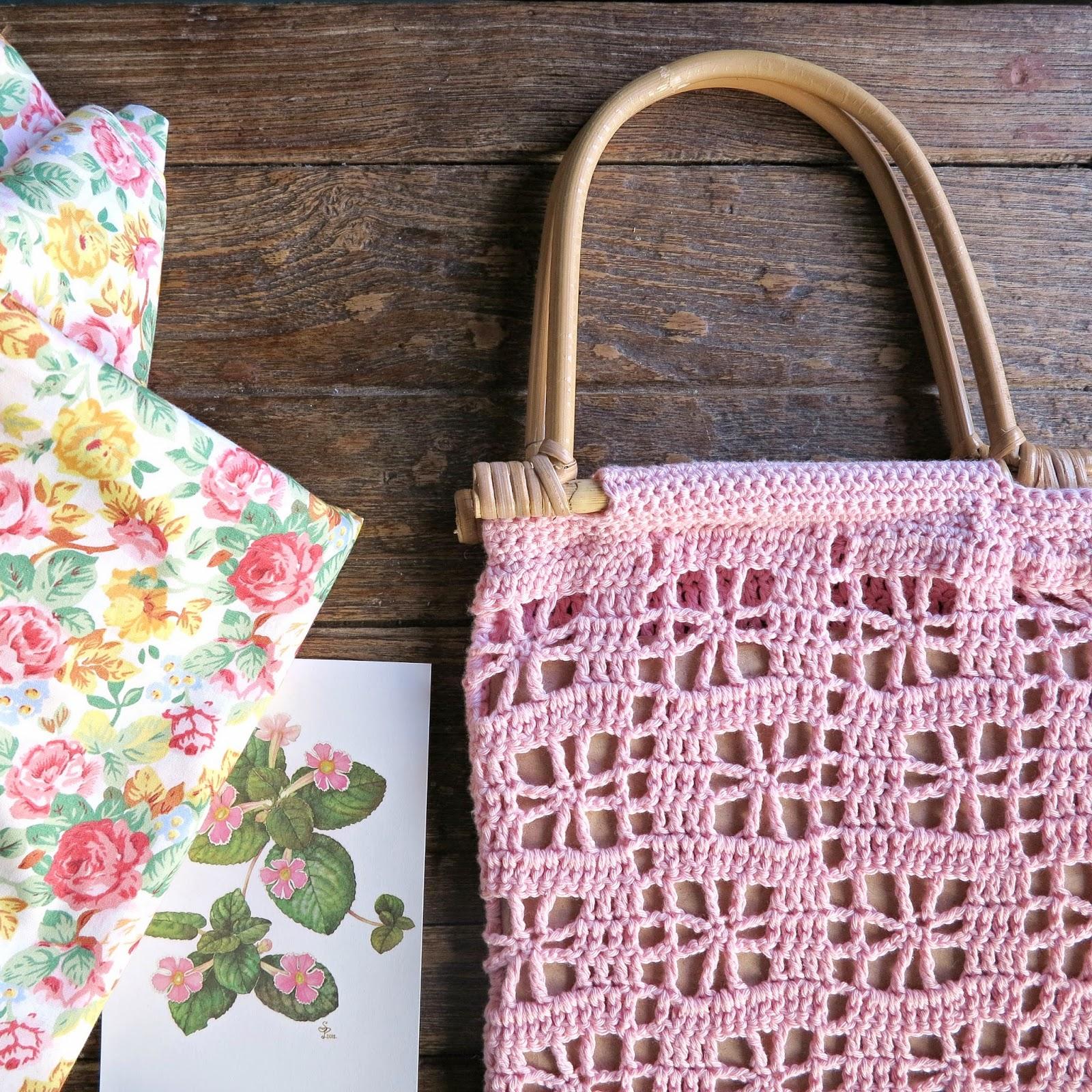 byHaafner, crochet, crochet market bag, pink, bamboo handle
