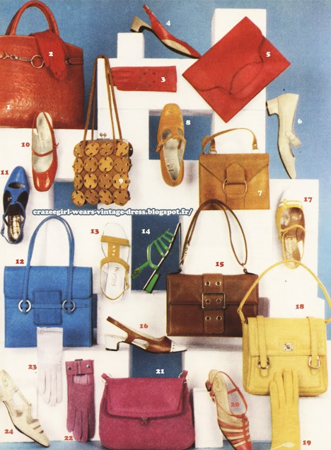 Accessories - Belts, gloves, bags, shoes - 1967 60s 1960 mod