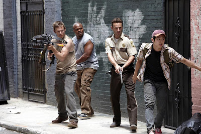 The boys on a rescue mission in the Walking Dead, AMC 2010