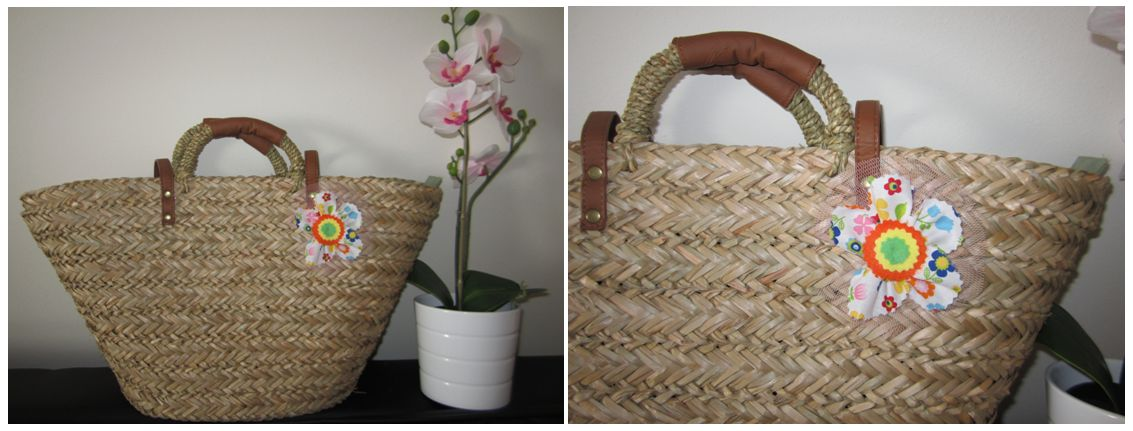 mis nancys, mis peques y yo, tutorial facil DIY flor de tul colores cesta playa
