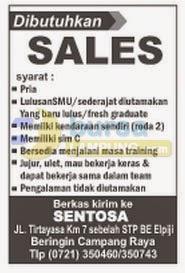Lowongan Kerja Lampung, 11 September 2014 di SENTOSA