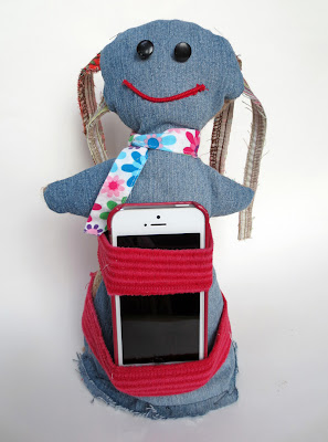 cell phone holder -- Rag doll repurposed from fabric scraps, denim and burlap