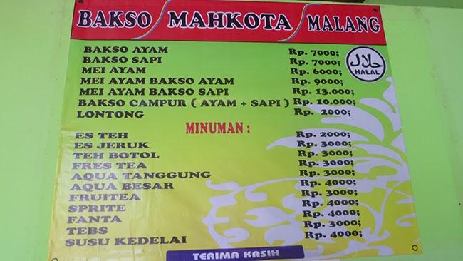 Cartel de precios