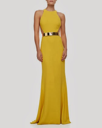 Stella McCartney Gold-Belted yellow Gown