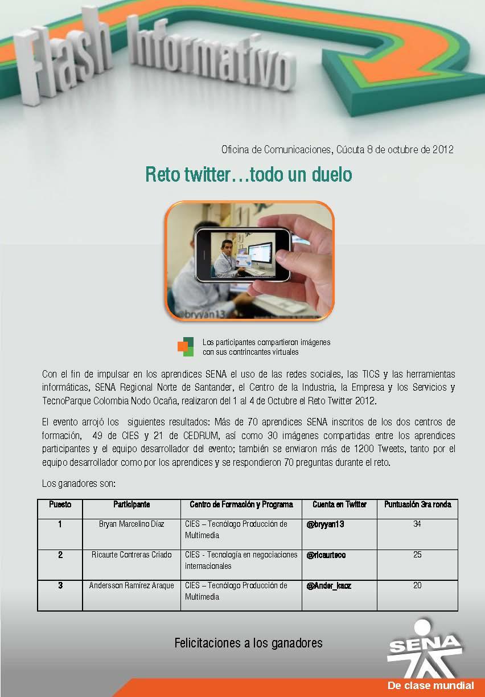 Regional norte de santander reto twitter todo un duelo for Oficina de correos santander