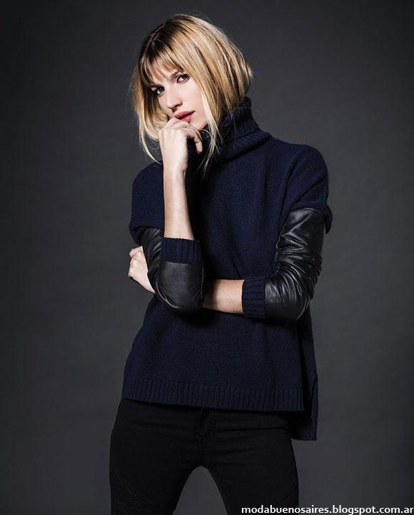 Moda invierno 2014 sweaters combinados con cuero invierno 2014.