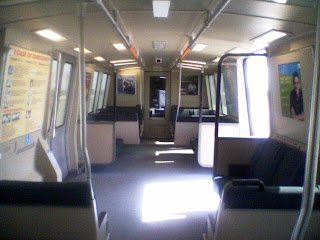 interior of BART light rail car