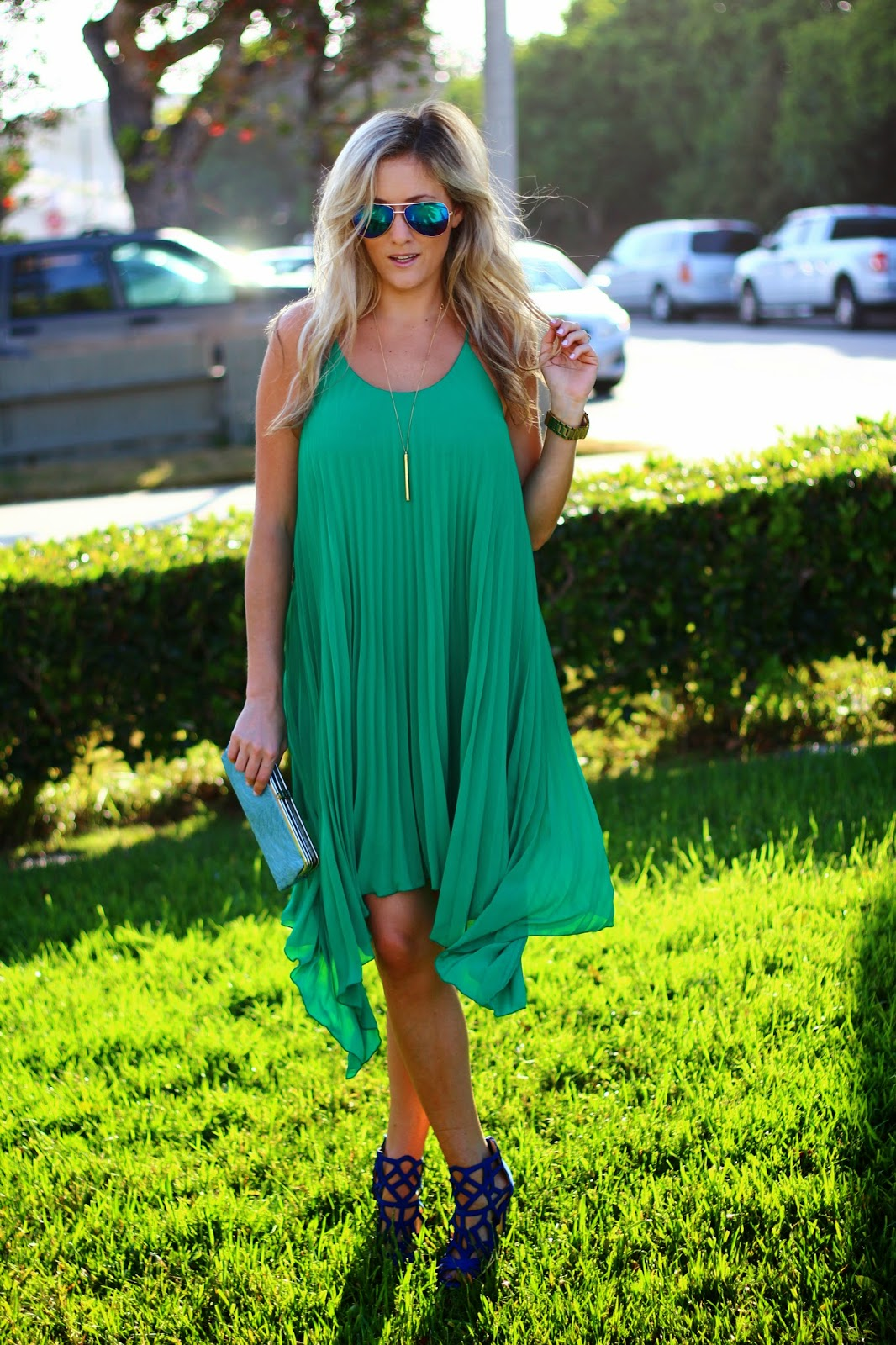 Wedding Guest Attire: Pleated Green Dress - She Said He Said