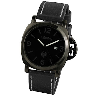 INFANTRY Date 20-24cm Army Black /Brown Leather Sport Mens Quartz Wrist Watch US