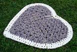 Tapete Coração Azul e Branco (feito a partir de um quadrado)