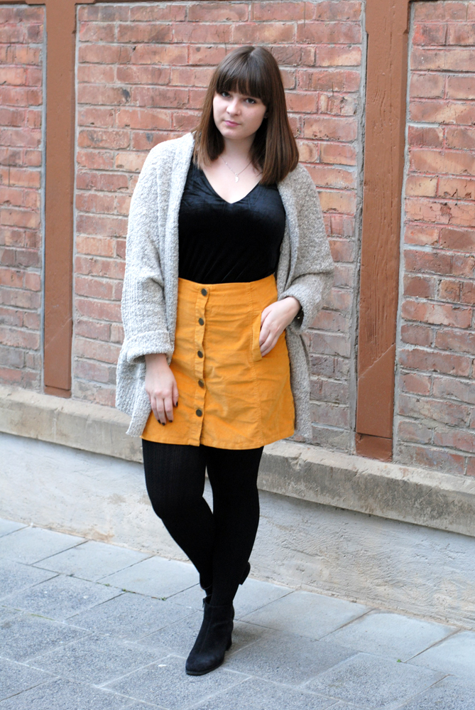 chunky knit cardigan yellow a-line button-down skirt