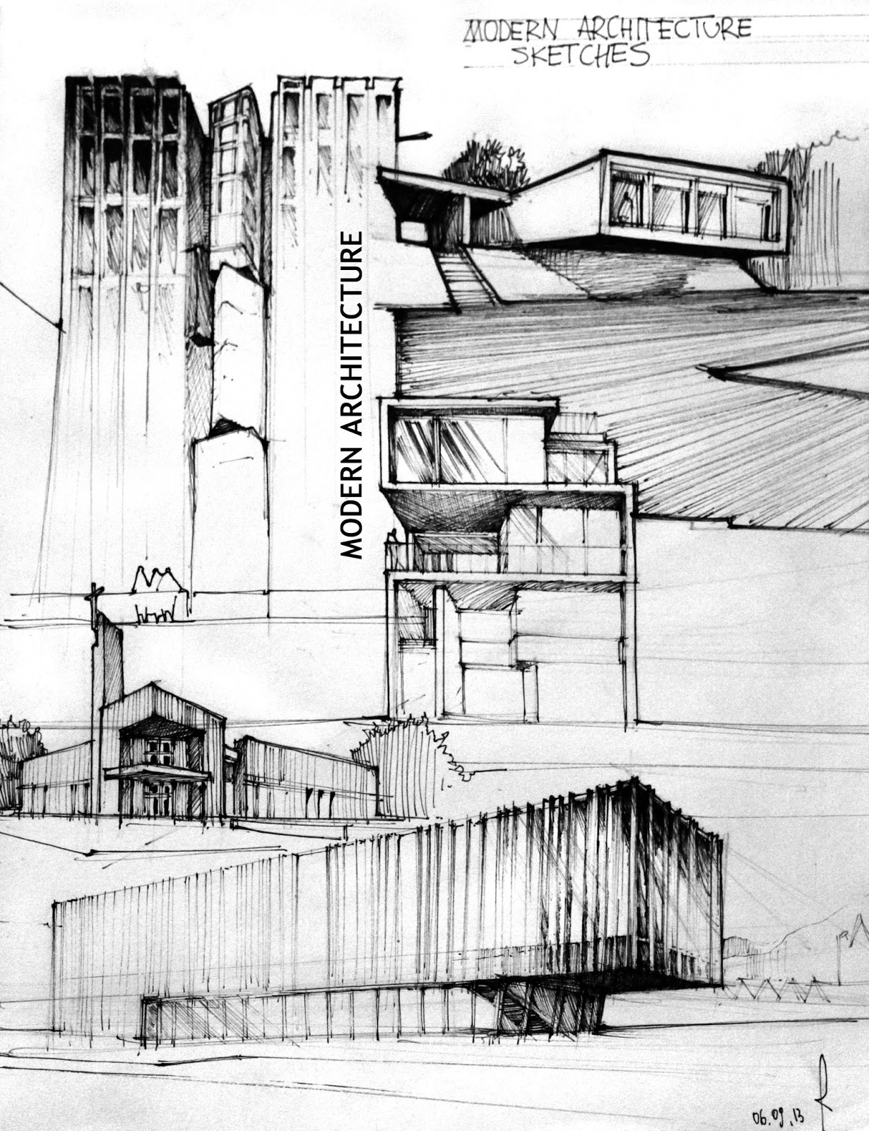 Modern architecture sketches artur st pniak gallery for Architecture house drawing