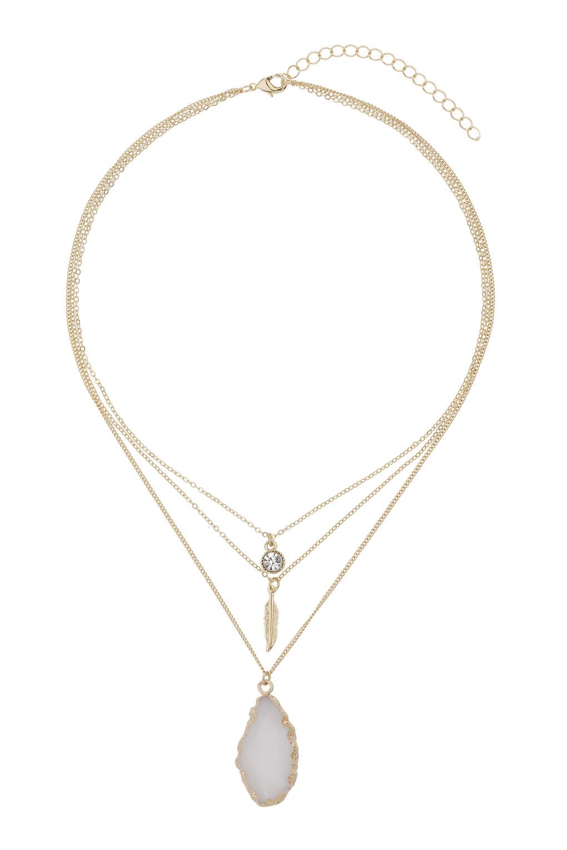 Wallis Fashion Stone and Charm multirow necklace