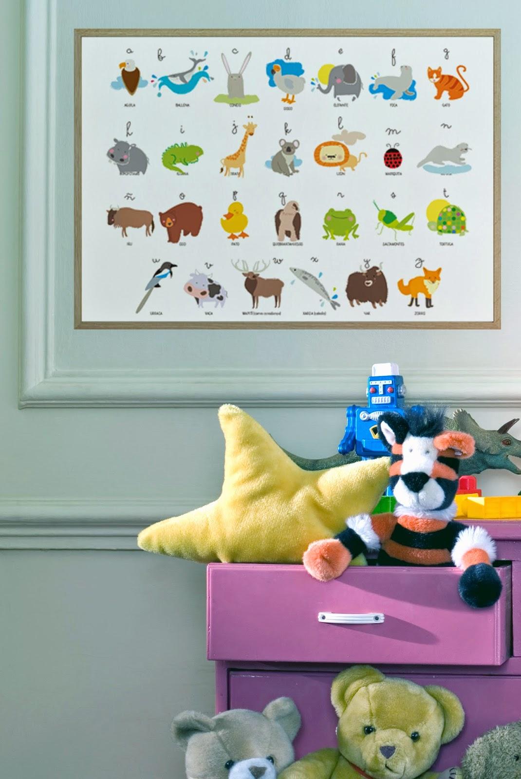 abecedario animal para habitación infantil