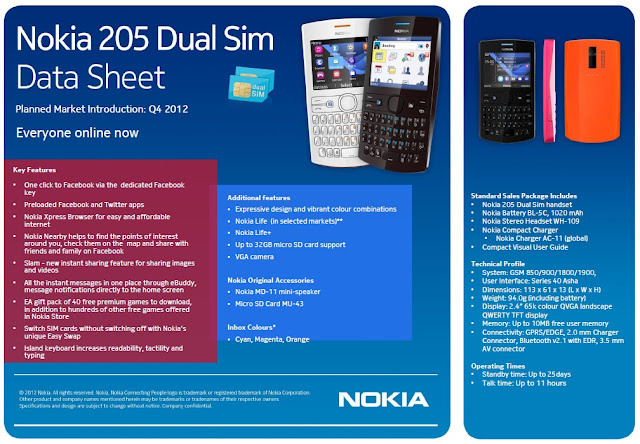 Data Sheet - Nokia Asha 205 Dual SIM