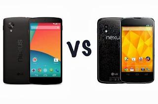 perbandingan spesifikasi Nexus 5 vs Nexus 4
