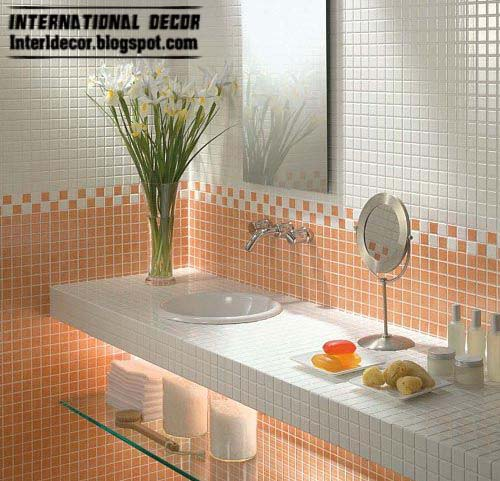 Latest orange wall tile designs ideas for modern bathroom for Modern bathroom wall tile designs