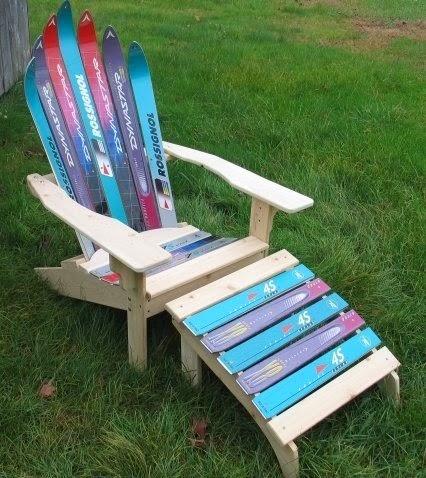 Narciarskie inspiracje DIY - niesamowite użycie nart! krzesło z nart