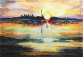 Wonderful Sunset Auckland City NZ Watercolor Painting on paper 21x29.5cm, Original Fine Art for Sale USD $150