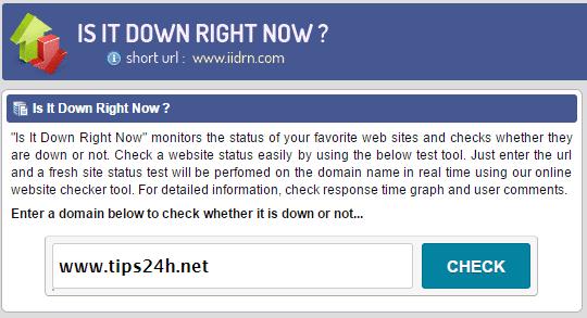 Cách kiểm tra website up hoặc down