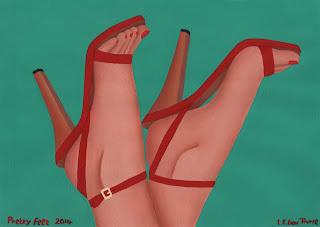 Pretty Feet - The feet of a woman wearing red high heel sandals